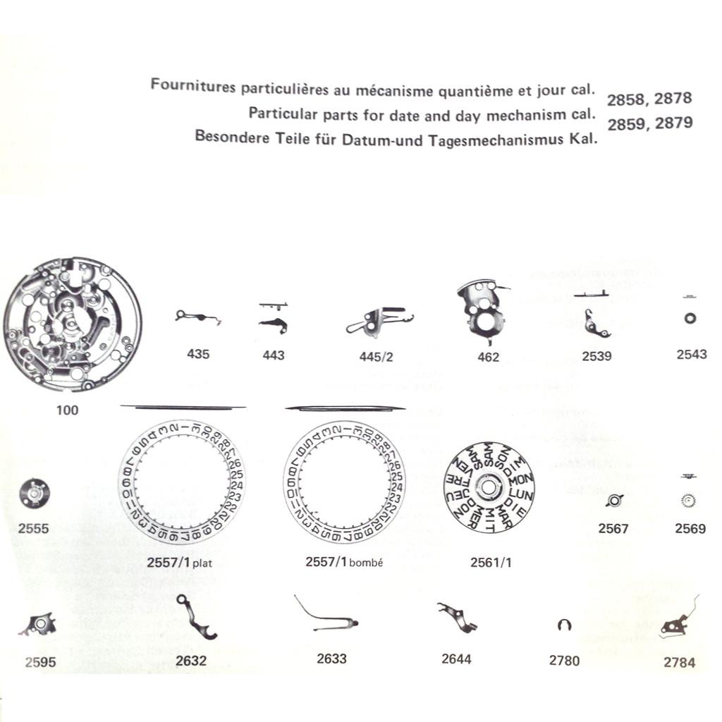 ETA 2870 watch parts