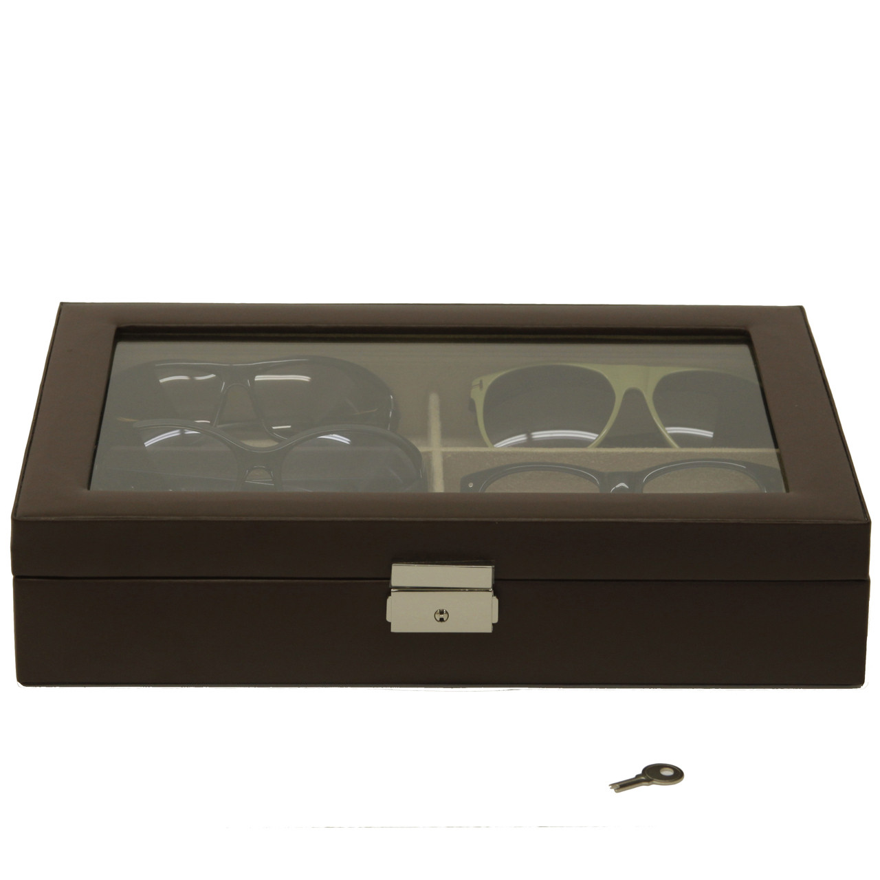 6 Eyeglasses Sunglasses Storage Case Leather Brown - Main