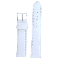 Leather Watch Band White Alligator Grain Strap