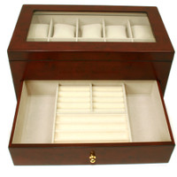 Valet Watches Pens Jewelry Eyeglasses Extra Large Compartments Burl Wood