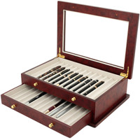 Burlwood Pen Display Case | TSBXPN26BUR | Tech Swiss | Open View