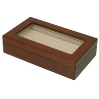 Ring Box Storage Display Case 7 Rows Burl Wood Matte Finish Window - Main
