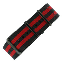 Watch Band Nylon One Piece Military Sport Red Black Stripe Black