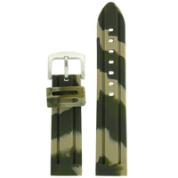 Watch Band Silicone Rubber Heavy Military Camouflage Army Green Strap
