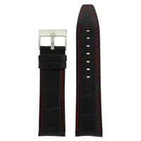 Black Leather Watch Band with Red Stitching - Top View
