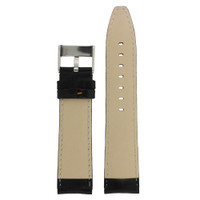 Black Leather Watch Band with Crocodiledile Grain with Orange Stitching - Bottom View - Main