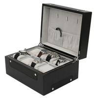 8 Watch Valet Sporty Design Black Carbon Fiber Accents Large Compartments