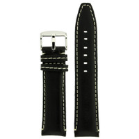 Black Leather Watch band with white topstitch by Techswiss - top view