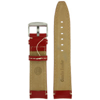 Red Leather Watch Band with white topstitch by Tech Swiss - interior view