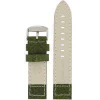 Pilot Leather Watch Band in Green by Tech Swiss - Bottom View - Main