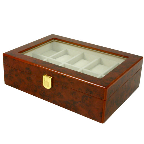 10 Watch Box Extra Clearance Large Cushions Latch Burl Wood - Main