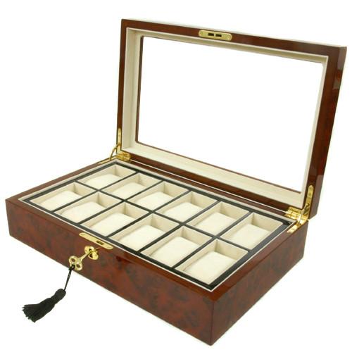 12 Watch Box Removable Tray Window Inlaid Burl Wood Tech Swiss