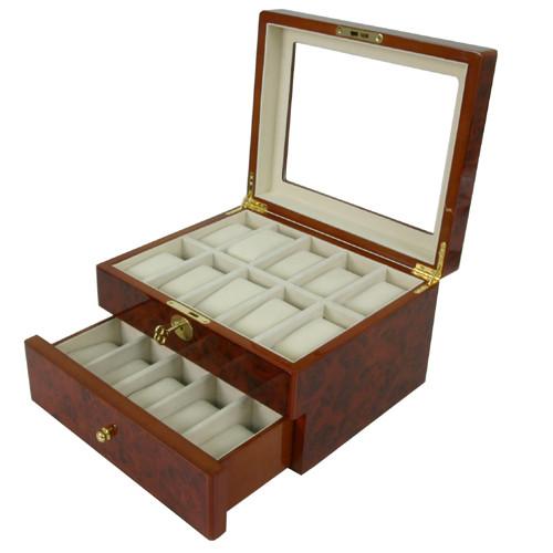 20 Watch Box Glass Window Extra Clearance Burl Wood Finish Key
