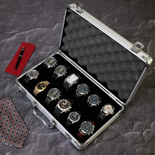 Aluminum Watch Briefcase | Mens Cases & Displays | TSBOXAL12 by Tech Swiss | Sample