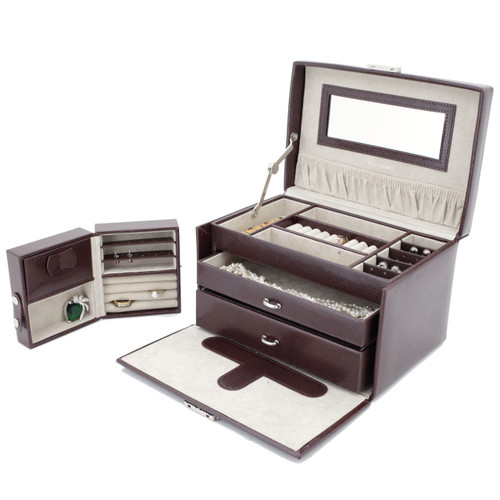 Brown Leather Jewelry Chest with Travel Case by Tech Swiss   TS382BRN   Open with Travel Case