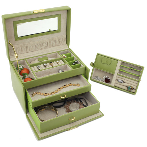 Lime Green Leather Jewelry Chest with Travel Case   Tech Swiss TS382LME   Side Front