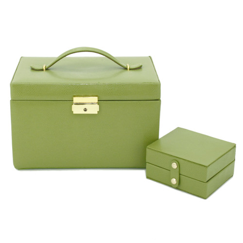 Lime Green Leather Jewelry Chest with Travel Case   Tech Swiss TS382LME   Closed