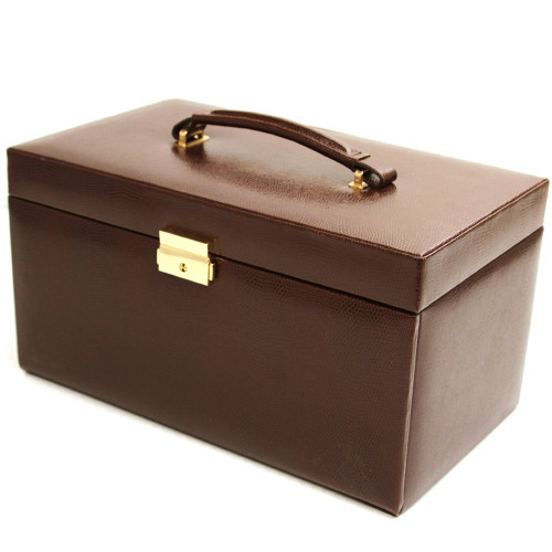 Tech Swiss Jewelry Box Leather Brown Extra Large With Travel Case - Main