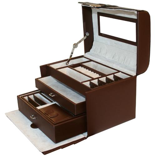 Tech Swiss Jewelry Box Leather EsPresso Brown Crocodile Trim - Main