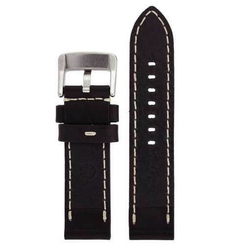 Black Leather Watch Band with White Topstiching - Bottom View - Main
