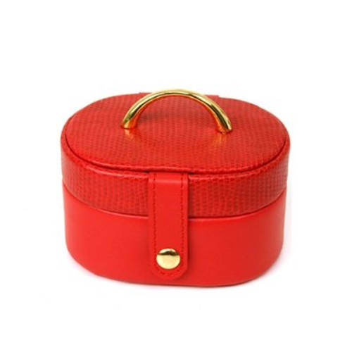 Mini Jewelry Box Case Gift for Jewelry Oval Red Leather