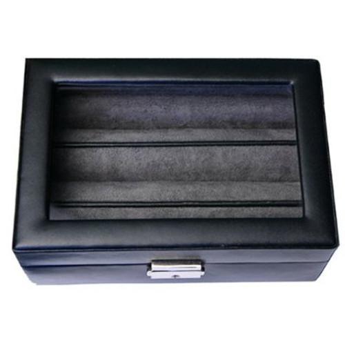 Ring Earring CuffLinks Box Storage Case Leather Black - Main