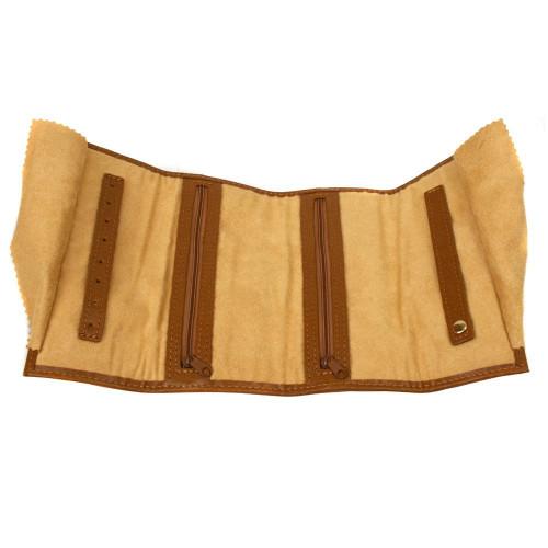 Tan Brown Leather Jewelry Travel Bag - Main