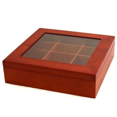 Tie Box Storage Handcrafted 12 Compartment Burl Wood Finish - Main