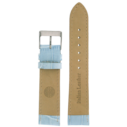 Light Blue Leather Watch Band in Alligator Grain - Bottom View - Main