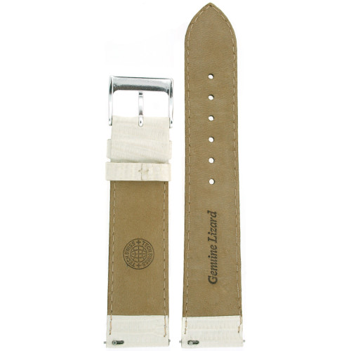 Watch Band Genuine Lizard Leather Strap White Color - Main