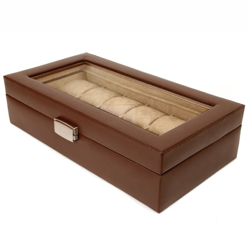12 Watch Box XL Brown Leather Large Compartments High Clearance Glass Window
