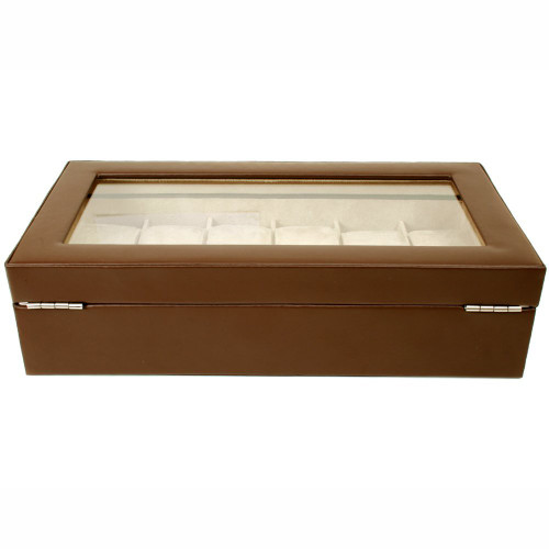 12 Watch Box XL Brown Leather Large Compartments High Clearance Glass Window - Main