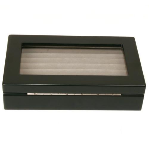 Ring Box Storage Display Case 7 Rows Black Matte Finish Window - Main