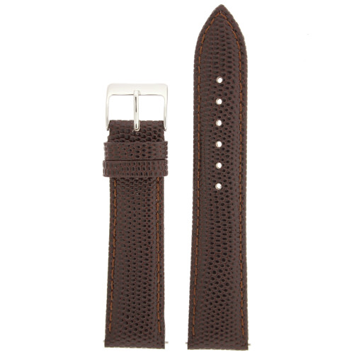 Watch Band Genuine Leather Lizard Grain Brown Quick Release Built-in Pins