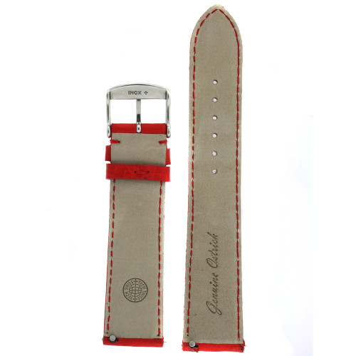 Red Ostrich watch band red interior