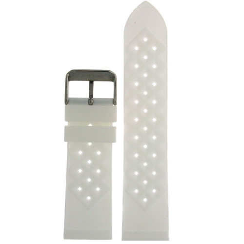 Silicone Rubber Breathable Watch Band White - Main