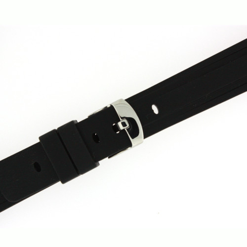 Silicone Rubber Watch Band Black - Main