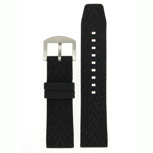 Silicone Rubber Watch Band Black 24mm - Main