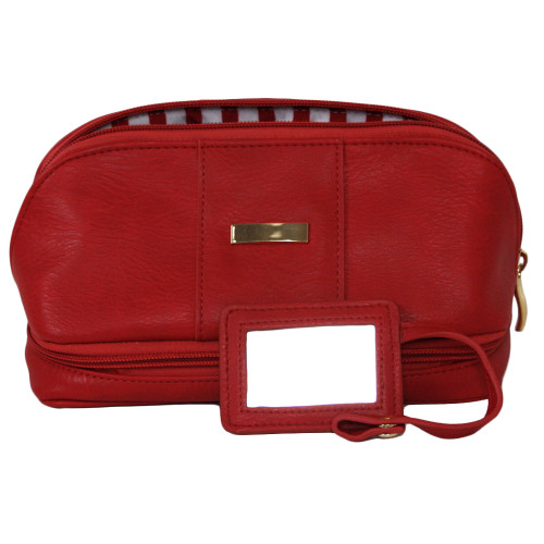 The Weekender - Travel Makeup Jewelry Case in Red Pin Stripe