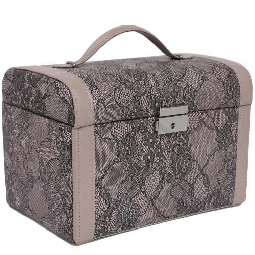 Jewelry Box Case in Fancy Lacey Motif in Mauve