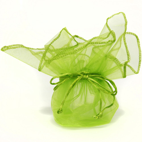 Neon Lime Green Organza Bags - Set of 10