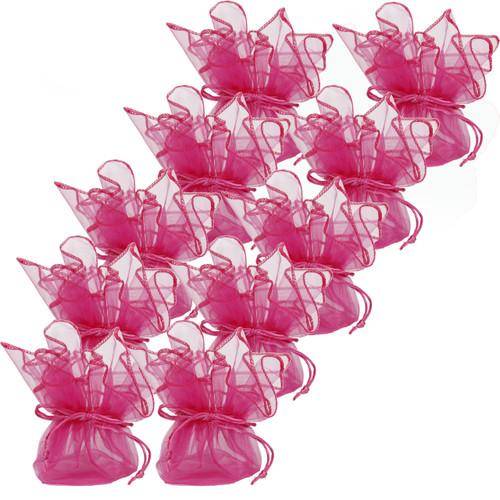 Neon Hot Pink Organza Bags - Set of 10