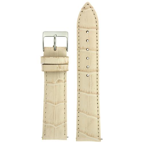 Watch Band Crocodile Grain Cream Quick Release Built-In Spring Bars