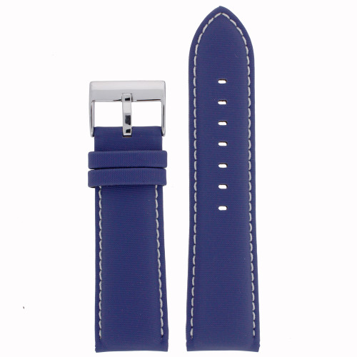 Blue Nylon Watch Band with Leather Lining by Tech Swiss - Top View