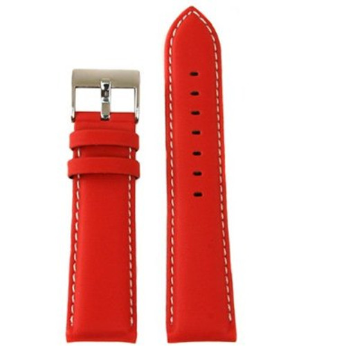 Red Leather Watch Band - Top View - Main