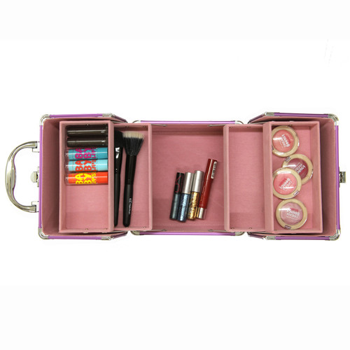 Aluminum Makeup Case in Pink and Purple Butterfly - Main