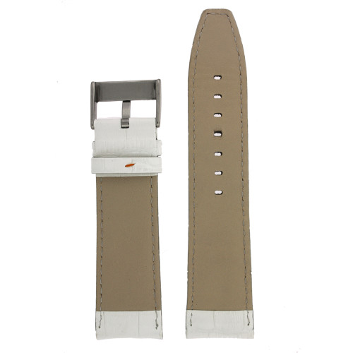 White Crocodile Grain Leather Watch Band - Bottom View