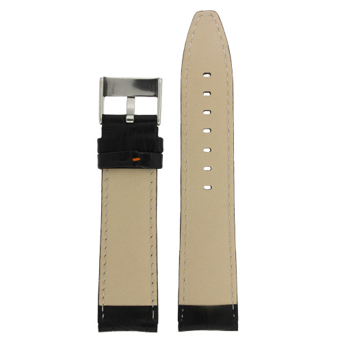 Black Leather Watch Band with Crocodiledile Grain with Orange Stitching - Bottom View - Main