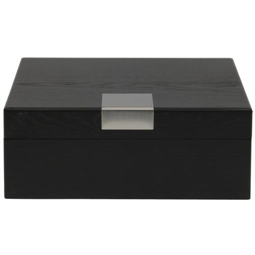 6 Watch Box Engravable Plate Wood Black Finish - Main