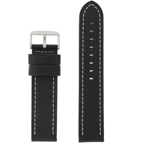 Long Watch Band in Black Carbon Fiber Print - Top View